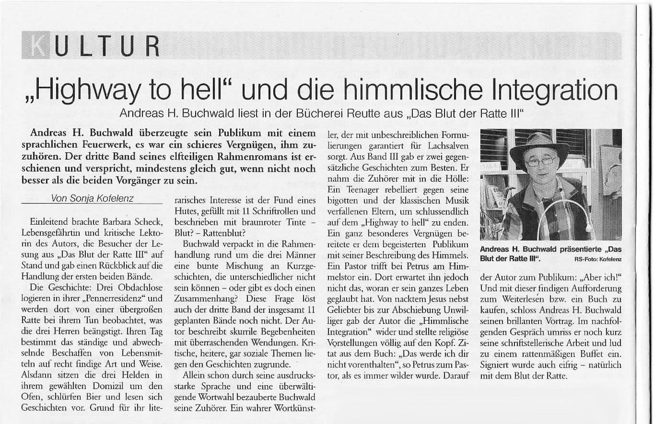 Zeitungsartikel vom 28. Februar 2020, Andreas H. Buchwald